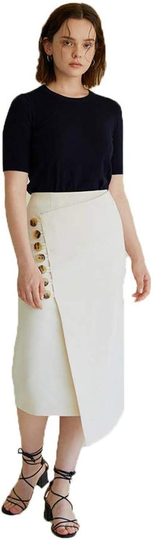 FSDFASS Skirt Women Office Skirts Summer Slim High Waist Skirt Lady Open Slit Slanted Buckle Trim