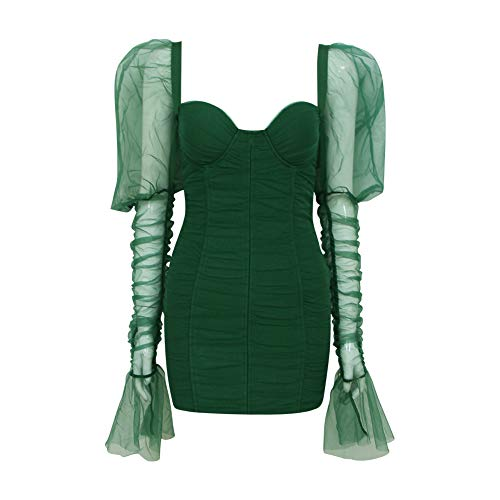 RVXZV SillyqZ Frauen Sexy Mode Full Sleeve Mesh Green Kleid Damen Designer Abendkleid XS Green