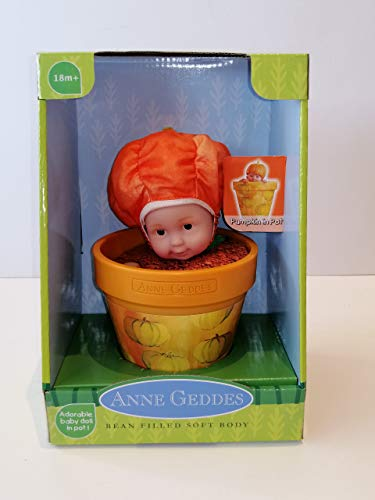 Anne Geddes 579179 Bebé Muñeca de Calabaza / Baby Pumpkin in a Pot 9 Inch Doll - Bean Filled Soft Body