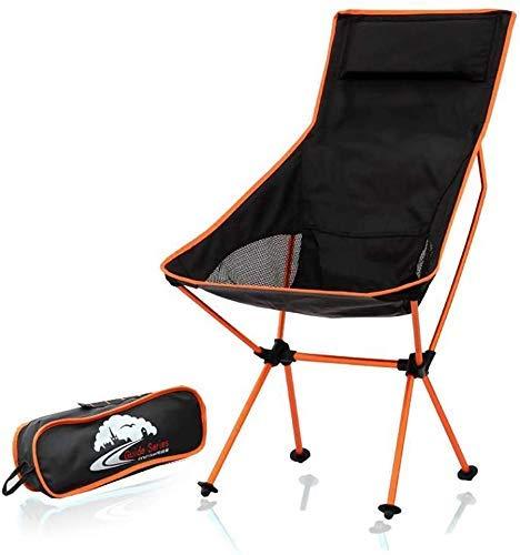 WJXBoos Silla de camping plegable, ligera silla de playa portátil, sillas compactas y pesadas (soporta 350 libras) para camping, mochilero, exterior (color: naranja)