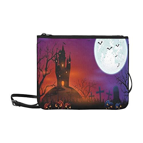 WYYWCY Halloween-Kürbisse auf dem Friedhof Dark Castle benutzerdefinierte hochwertige Nylon dünne Clutch-Tasche Umhängetasche Umhängetasche