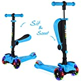 BELEEV 2 in 1 Kick Scooter for Kids with Folding Seat, 3 Wheel Scooter for Toddlers Girls Boys, Adjustable Height, Lean to Steer with PU Light Up Wheels for Children from 2 to 14 Years Old (Blue)