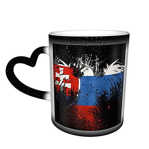 Oaieltj Taza divertida que cambia de calor, taza de té de leche mágica taza de café mágica de la bandera de Eslovaquia
