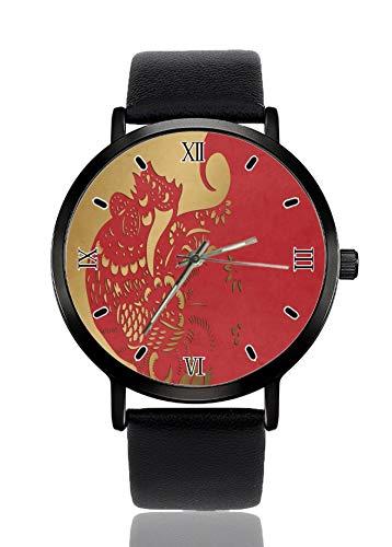 Golden Rooster - Reloj de pulsera de cuarzo de imitación para mujer y mujer, correa negra