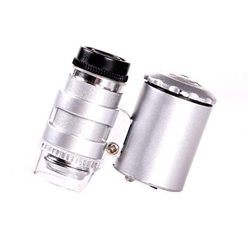Mnjin Tragbare 60X UV High Definition Lupe mit LED-Licht für professionelle, Amateur-, Schmuck-, Diamantring-Gedenkmünzenerkennung, Silber