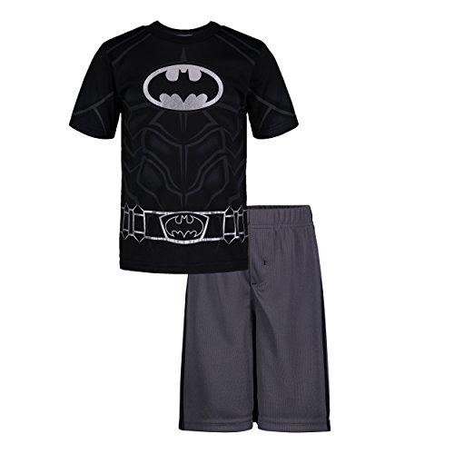 Warner Bros. Batman Toddler Boys' Athletic Performance T-Shirt & Mesh Shorts Set, Black/Grey (4T)