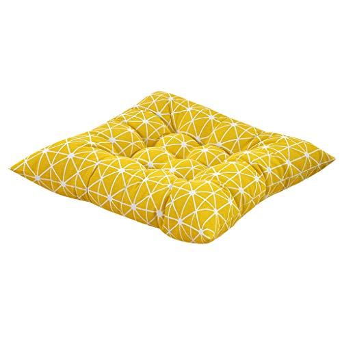 Moent Pillow Case Cotton Linen Style Soft Cushion Strap Non-Slip Sofa Chair Cushion New Printing Plain Seat Pad Dining Room Garden Kitchen Chair Cushions 40x40cm (J)