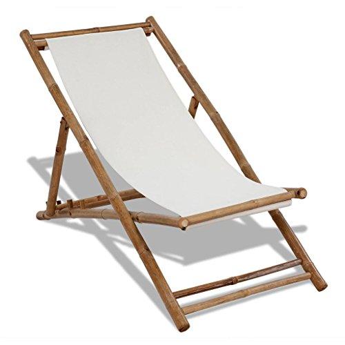 Sonnenliege Gartenliege Liegestuhl klappbar aus Bambus - Relaxliege für Garten Balkon Gartenliege Strandstuhl Liegen Gartenmöbel, für Garten, Terrasse und Balkon (1 Stück, Weiß)