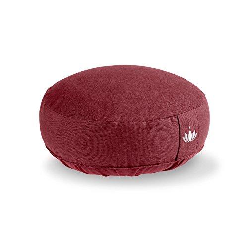 Lotuscrafts Yogakissen Meditationskissen Extra Niedrig - Sitzhöhe 10cm - Waschbarer Bezug aus Baumwolle - Yoga Sitzkissen mit Dinkelfüllung - GOTS Zertifiziert