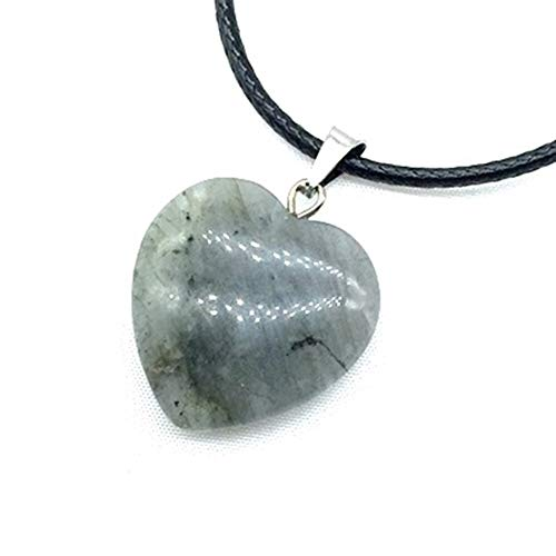 FKJSP Stone Bead Heart Charm Fashion Necklace Gift Black Cord Wire Rope Chain Lava Opal Onyx Jaspers Amethysts Jades Etc (Metal Color : Labradorite)