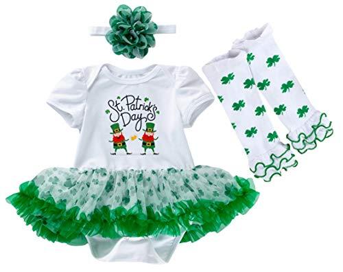 AGQT Día de San Patricio Traje para niñas bebés Tréboles Verdes Body Tutu Vestido Diadema Calentadores de piernas 3PCS Set Día de San Patricio de Dos Elfos 3-6 Meses