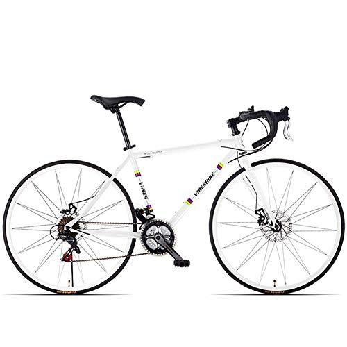 DJYD 21 Speed-Straßen-Fahrrad, High-Carbon Stahlrahmen Männer Rennrad, 700C Räder Stadt-Pendler-Fahrrad mit Doppelscheibenbremse, Gelb, gerader Griff FDWFN (Color : White, Size : Bent Handle)