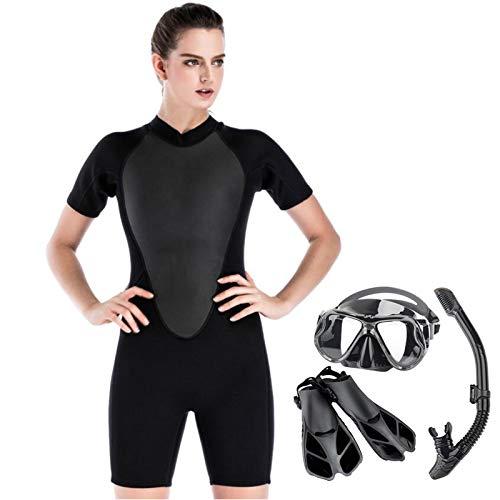 HUOFEIKE Traje de buceo para mujer con buceo y snorkel, traje de neopreno de 2 mm, traje de neopreno de manga corta para natación, esnórquel, surf, L