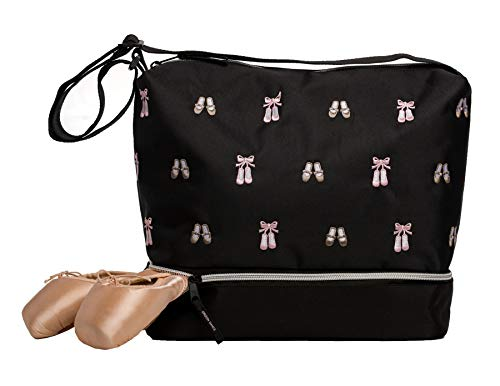 Horizon Dance 5602 Daisy Embroidered Ballet and Tap Dance Small Gear Tote Bag with Shoe Compartment