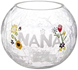 Pavilion Gift Company Nana Love Floral Round Candle, 5 Inch Included 5' Crackled Glass Tealight Holder