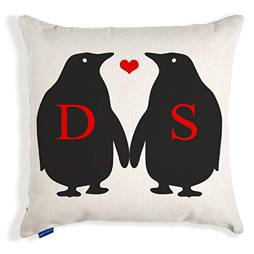 KRAFTYGIFTS Personalised Initial Penguin Christmas Cushion Cover Love Couple Home Xmas Present Gift KC38