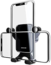 XMNX-WW 車載ホルダー スマホホルダー 車 携帯ホルダー 車載ホルダー スマホスタンド 車載 スマートフォンホルダー 携帯スタンド スマホ カー エアコン吹き出し口用 重力で自動調節 横縦両用 落下防止 iPhone/Android多機種対応