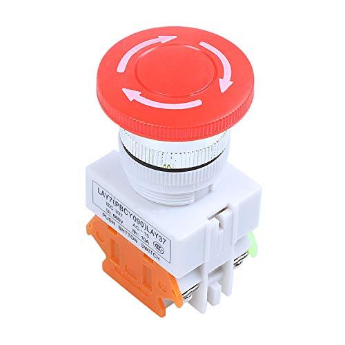Tashido Interruptor de Boton de Presion para Parada de Emergencia Tapa de Seta Rojo 1NO 1NC DPST CA 660V 10A