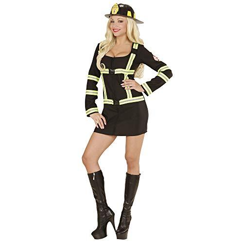 Widmann 06602 - Erwachsenenkostüm Feuerwehrfrau, Kleid, schwarz, Größe M
