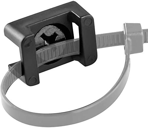 Pro Grade Slim 1x 6 Cable Tie Mounts With Screws 100 Pack High Strength Black Zip Tie Bases product image