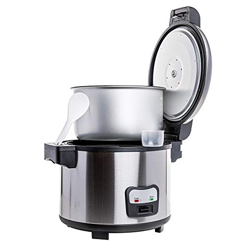 SYBO - CFXB100-4B Commercial Grade Rice Cooker/Warmer, 60 Cups with Hinged Lid, Stainless Steel Exterior, Non-Stick Insert Pot