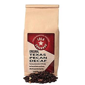 Lola Savannah Texas Pecan Whole Bean Coffee - Gourmet Arabica Beans Blended with Real Pecan Pieces Decaf 2lb Bag