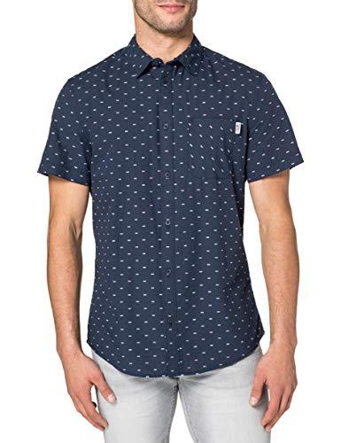 Tommy Jeans TJM Short Sleeve Dobby Shirt Camisa, Azul Marino Crepúsculo, L para Hombre