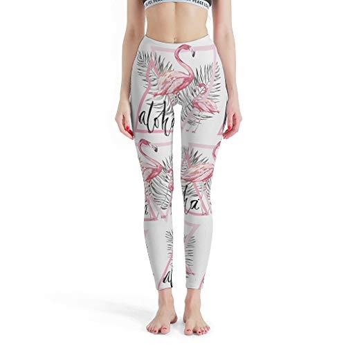 Gamoii Damen Yoga Leggings Rosa Aloha Flamingo Palmblatt Bedruckte Sporthose Yogahose High Waist Elastisch Jogginghosen White m