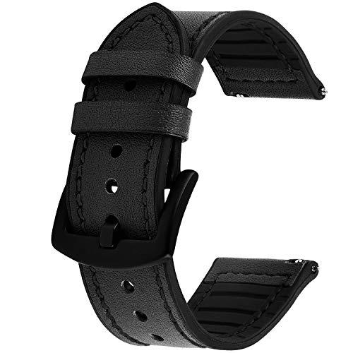 GerbGorb Silikon Leder Uhrarmband 20mm 22mm, 5 Farben Schnellverschluss Leder Uhr Armbänder für Männer und Frauen, Schwarz/22MM