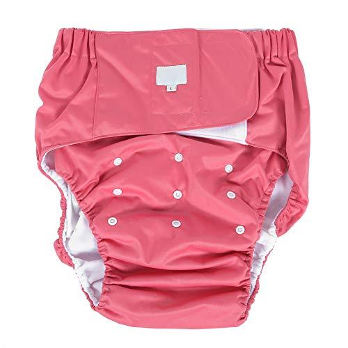 Pannolini per adulti, pantaloni per pannolini per incontinenza per adulti, articoli per l'igiene dell'incontinenza da pannolino lavabili, riutilizzabili e regolabili per anziani(Rosa rossa)