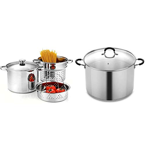 Cook N Home 4-Piece 8 Quart Multipots, Stainless Steel Pasta Cooker Steamer & N Home 20 Stainless Steel Saucepot with Lid Quart Stockpot, QT, Silver