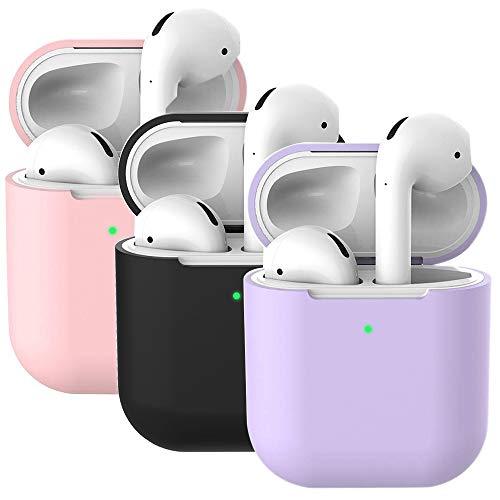 Molylove 2x Schutzhülle aus Silikon für Apple AirPods 2 & 1, Schutzhülle für Airpods, Schutzhülle aus Silikon, stoßfest [Vorderseite sichtbar]