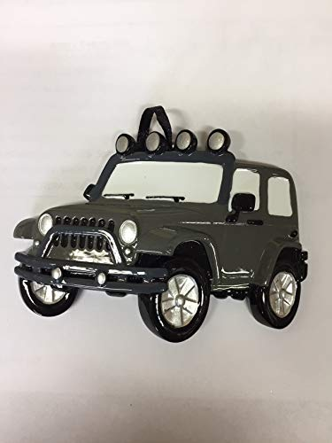 Compatible with Car_Jeep SUV 4X4- Grey Personalized Christmas Tree Ornament