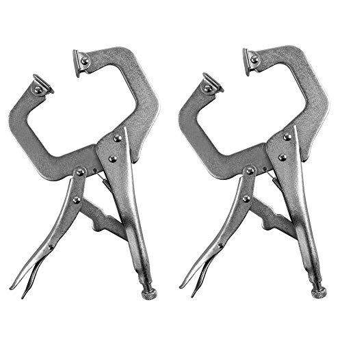 QWORK C Klemme- Robuste Klemmklemme mit Drehgelenk für Handwerker, 28 cm, 2er-Pack