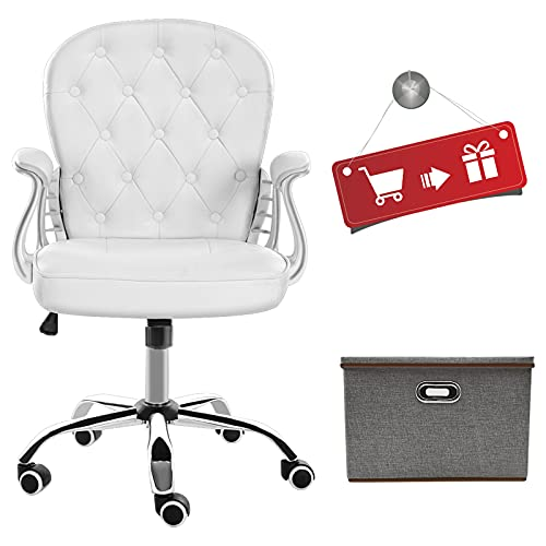 JL Comfurni Faux Leather Desk Chair for Home Office Computer Chair, Swivel Chair Height Adjustable (White)