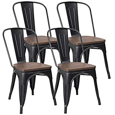 JUMMICO Metal Dining Chair Stackable Industrial Vintage Kitchen Chairs Indoor-Outdoor Bistro Cafe Side Chairs with Back and Wooden Seat Set of 4