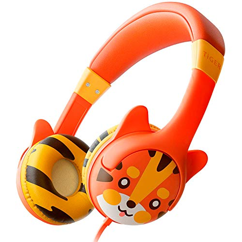 Kidrox Tiger-Ear Kids Headphones Boys/Girls - 85dB Volume Limited, Wired Toddler Headphones for School, Adjustable Headband, Tangle Free Cable, Cute Design, Small Orange Children Headphones On Ear