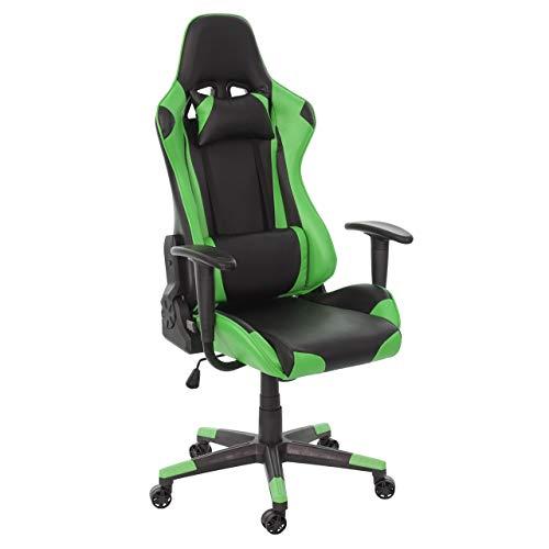Mendler Bürostuhl HWC-D25, Schreibtischstuhl Gamingstuhl Chefsessel Bürosessel, 150kg belastbar Kunstleder - schwarz/grün
