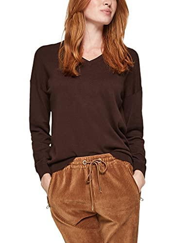 s.Oliver Damen Pullover mit V-Ausschnitt dark chocolate 38