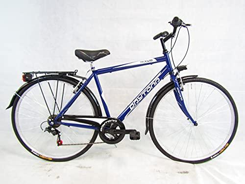 bicicletta uomo bici da passeggio city bike trekking 28 shimano 6 velocita' (blu) Daytona