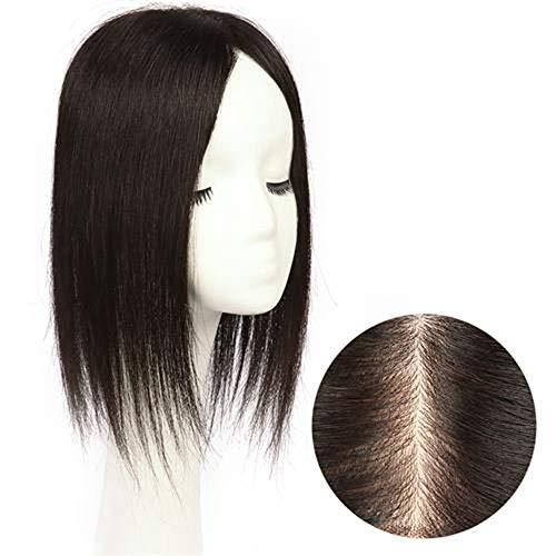 Souple Fashian Double Main Aiguille Naturel Noir Longue Ligne Droite Pièce De Remplacement De Cheveux Pleine À La Main Véritable Perruque De Cheveux fashion (Color : Natural color, Size : 35cm)
