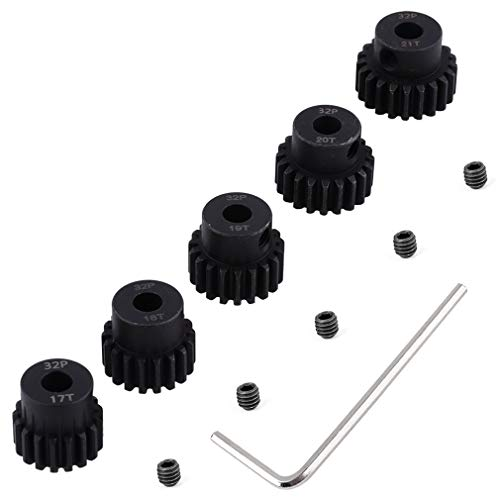 Hobbypark Metal Steel 32 Pitch Pinion Gear Set 5mm Shaft Hole 17T 18T 19T 20T 21T Motor Gears Kit for RC Car (5-Pack)