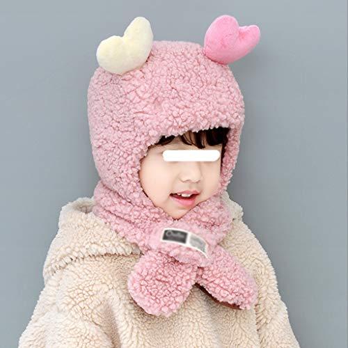 ZYSWP MZWJTZKD Kinderhüte und -schals EIN Herbst und Winter Winddicht und warme niedliche Lammmädchen Jungen Kleinkinder Babyohrkappen (Color : Pink)