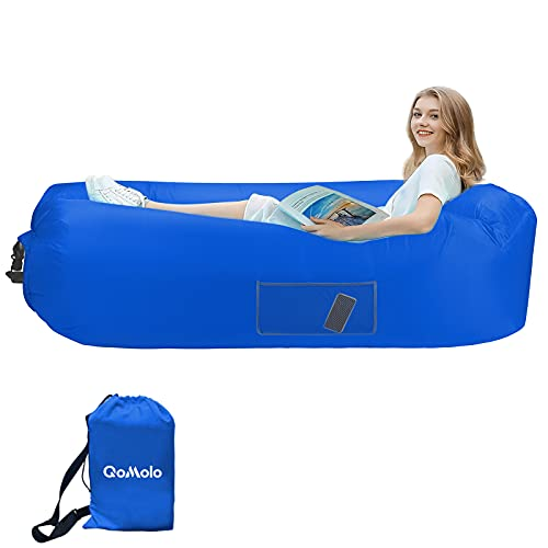 Qomolo Sofá Hinchable, Tumbona Hinchable Sofá Inflable Portátil, Cómoda Cama Inflable con Almohadas, para Camping, Vacaciones, Senderismo (Azul Claro) Azul Oscuro ⭐