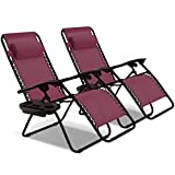 Goplus 2PC Zero Gravity Chairs Lounge Patio Folding Recliner Outdoor Yard Beach with Cup Holder (Wine)