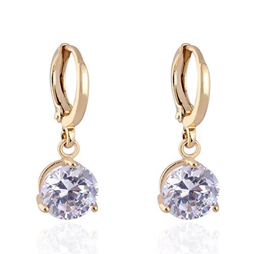 Price comparison product image Round Crystal 18k Gold Plated Earrings Stud Women Dangle earrings Earnuts Gs0461 (GS0461-4)