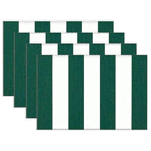 Yilooom groene witte strepen set van 6 hittebestendige vlek isolatie plaats matten anti-slip wasbaar canvas tafel Placemats voor Chistmas vakantie Decor 12 X 18 Inch