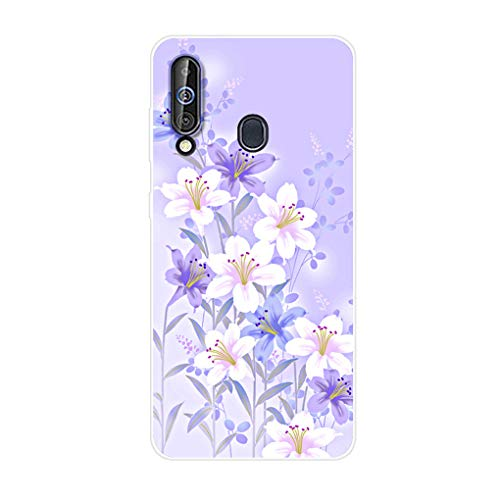 Homikon Silikon Hülle Karikatur TPU Tasche Handyhülle Transparente Durchsichtig Kirstall Clear Ultra Dünn Schutzhülle Stoßdämpfend Case Cover Kompatibel mit Samsang Galaxy 60 - Weiße Blume