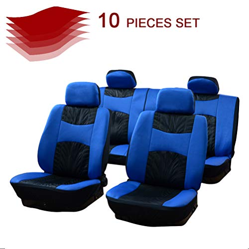 cciyu Universal Car Seat Cover w/Headrest - 100% Breathable Seat Cover Washable Auto Covers Replacement fit for Most Cars(Black/Blue)