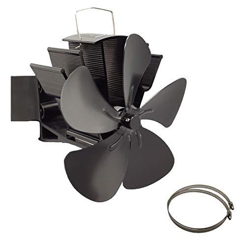 Kaminventilator,YOAYAN 5-Blatt-Thermo-Thermometer Mit Wärmegetriebenem Ofenventilator Für Große Räume
